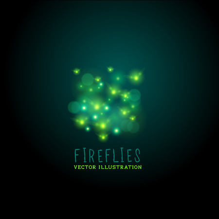 Midnight Fireflies. A group of glowing fireflies at night, vector illustration