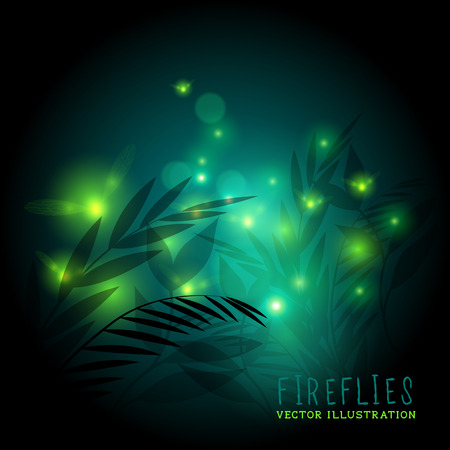 Fireflies in the forest at night - vector illustration.