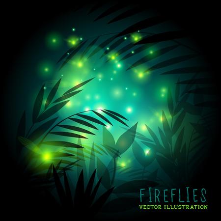 Vuurvliegjes in het bos 's nachts - vector illustratie.