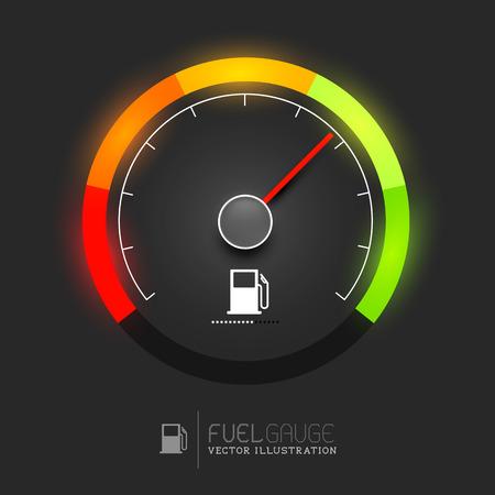 speedometer: Un indicatore di livello carburante, tachimetro illustrazione vettoriale Vettoriali