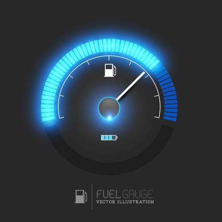 metro medir: Un indicador de combustible, velocímetro ilustración vectorial