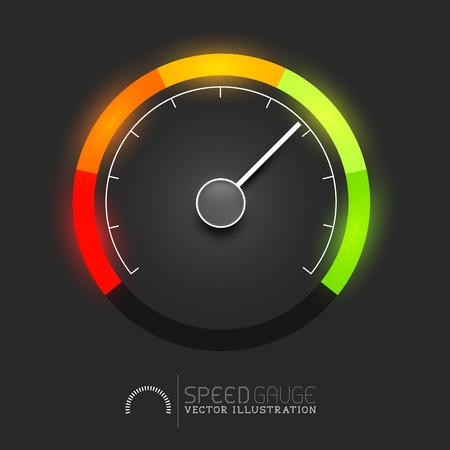 Snelheid, kracht en  of brandstofmeter meter. Vector illustratie Stock Illustratie