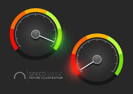 Stadi di velocità, potenza e / o metro indicatore del carburante, veloce - lento, pieno - vuoto. Illustrazione vettoriale