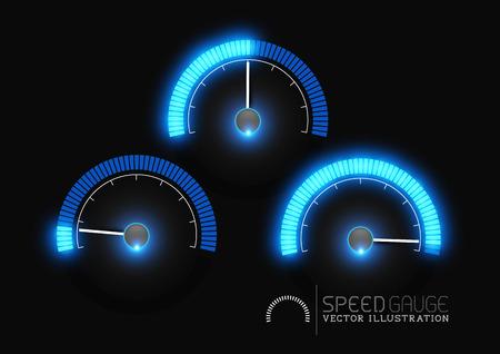 velocidad: Etapas de velocidad, potencia y  o metro indicador de combustible. Ilustración vectorial