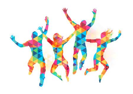 amistad: Los jóvenes saltando en la celebración con el modelo abstracto. Ilustración vectorial