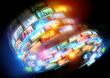 メディアをループします。接続されているメディアと社会的なイベント、世界中で放送。 写真素材