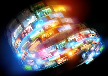 미디어 루프. 연결 미디어와 전 세계에 걸쳐 방송 행사.