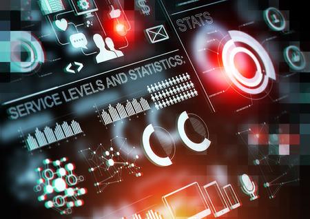 tecnologia informacion: Grandes estad�sticas de las empresas los datos de fondo. Foto de archivo