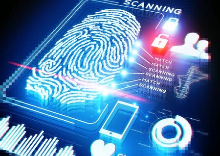 sistemas: Fondo digital de escaneo de huellas dactilares.