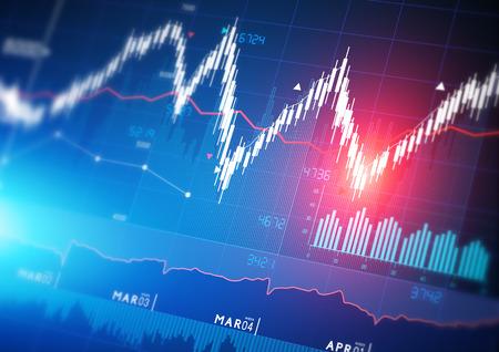 stock market chart: Stock market index graphs background. Stock Photo
