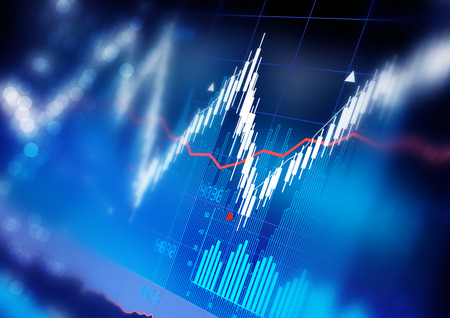 share market: Stock market index graphs background. Stock Photo