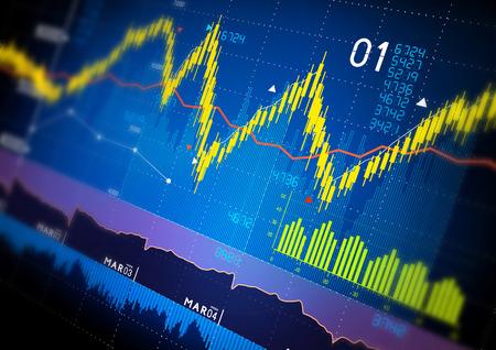 power point: Stock market index graphs background. Stock Photo