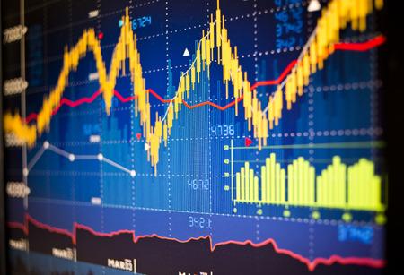 Grafici indice del mercato azionario sfondo.