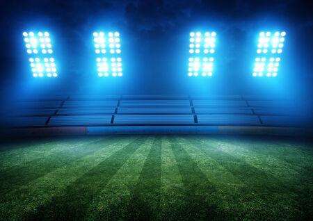 Football Field Stadium e Luci. Sfondo illustrazione.