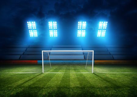 Campo de fútbol y luces del estadio. Ilustración del fondo.