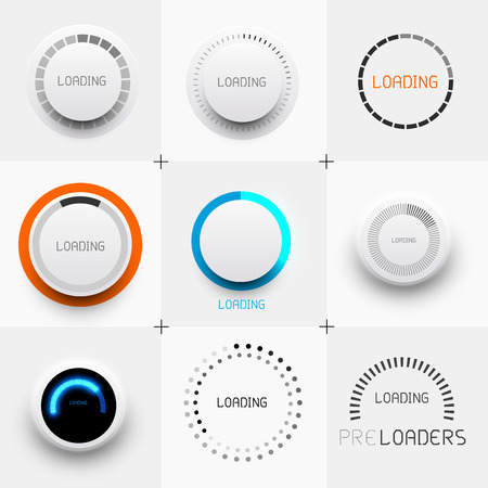 Set of Preloaders - for loading items  Progress loading icons   Vector