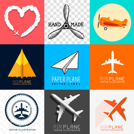 paper airplane: Vector Airplane Collection  Set of various planes and aircraft symbols