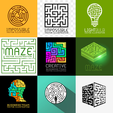 Vector Maze Collection  Set of various maze and puzzle symbols