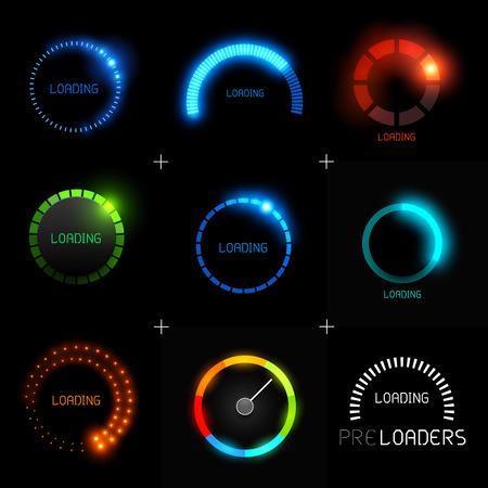 Set of Preloaders - for loading items Progress loading icons