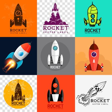 cohetes: Vector Rocket Colección Conjunto de varios símbolos de cohetes Vectores