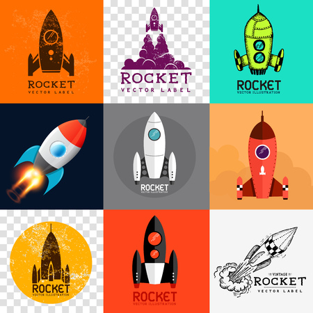 startup: Vector Rocket Collection  Set of various rocket symbols Illustration