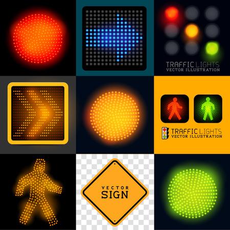 grün: Vektor Ampel Collection Set von verschiedenen Verkehrszeichen und Symbole