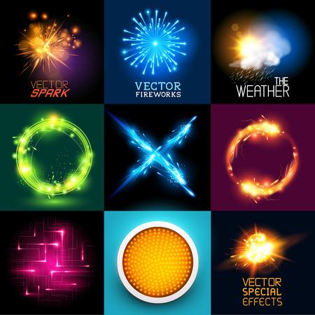 rayo electrico: Vector efectos especiales Colecci�n Conjunto de varios efectos de luz y s�mbolos