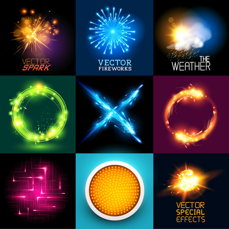 streak lightning: Vector special effects Collection  Set of various light effects and symbols
