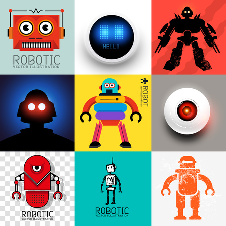 Vector Robot Collection  Set of various robots and android symbols Vector