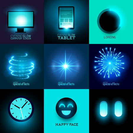 fx: Vector Glow In The Dark Collection  Set of various glowing objects and symbols