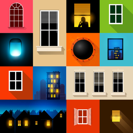 windows home: A set of various windows and window frames. Vector illustration