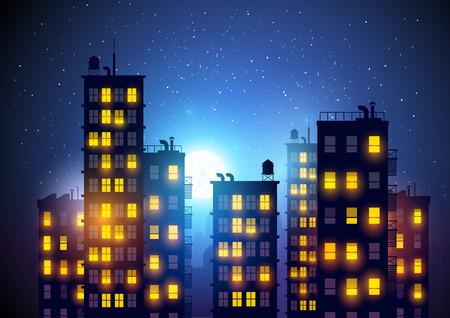 Město v noci. Vektorové ilustrace bytových domů ve městě v noci. Ilustrace