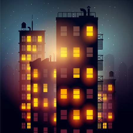new york street: City apartments at night. Vector illustration of apartment blocks in a city at night.