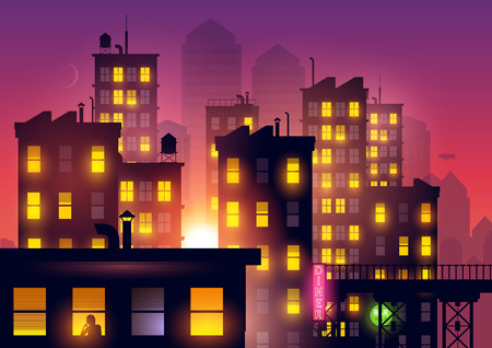 city lights: Sunset Over The City. Lights from city apartments add to the summer dusk city glow. Vector illustration.