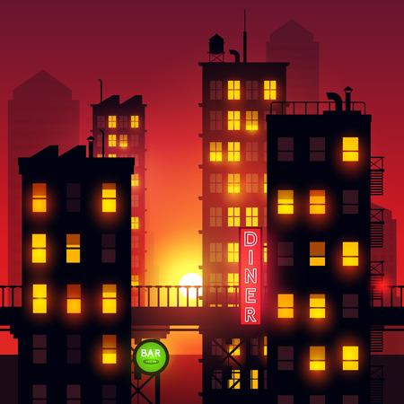 街の夕日。シティ アパート メンツからライトは夏の夕暮れ市グローを追加します。ベクトル イラスト。