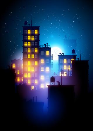 Urban City bei Nacht. Vektor-Illustration der Wohnblöcke in einer Stadt in der Nacht.