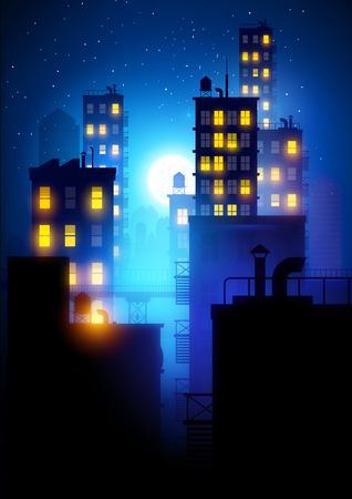 big window: Midnight City.  Vector illustration of apartment blocks in a city at night.
