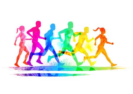 gente corriendo: Grupo de corredores, hombres y mujeres corriendo para mantener ilustraci�n vectorial ajuste