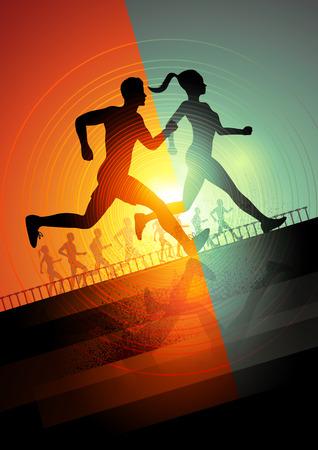 hombres corriendo: Grupo de corredores, hombres y mujeres corriendo para mantener ilustración vectorial ajuste