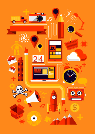 Creative Design Elements  Creative flat vector illustration with various business and technology symbols  Vector