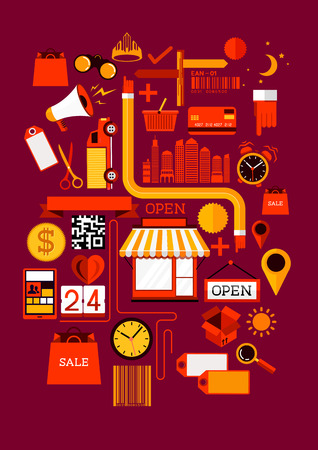 24 hours: Creative Shopping Elements  Creative flat vector illustration with various shopping symbols  Illustration
