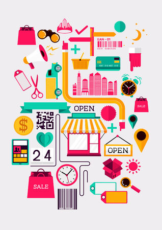 Creative Shopping Elements  Creative flat vector illustration with various shopping symbols  Vector