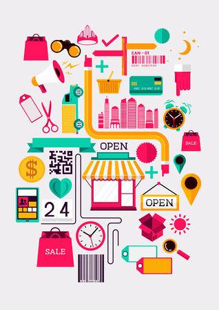 Creative Shopping Elements  Creative flat vector illustration with various shopping symbols  Illustration