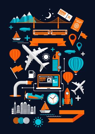 avion caricatura: Creativa Transporte Elementos Creativo ilustraci�n vectorial plana con varios s�mbolos recorrido transporte