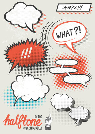 Vector Halftone Speech Bubbles. Halftone pattern speech bubbles for designs. Layered vector illustration.