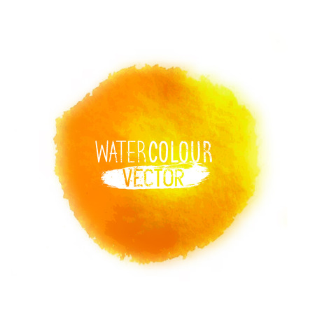 watercolor smear: A clean and simple watercolour element vector hand painted in orange isolated on white. Vector illustration. Illustration