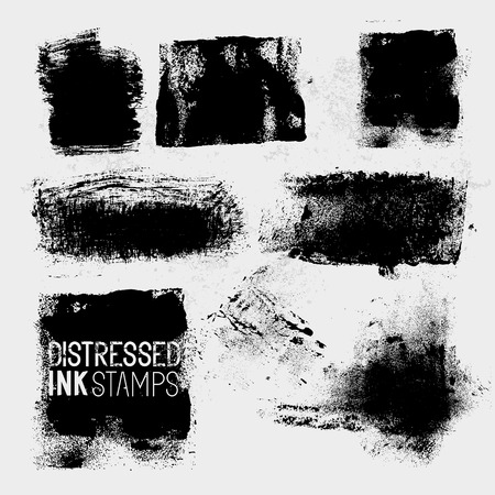 distressed: Distressed Vector Stamps, A collection of texture paint stains. Vector illustration.