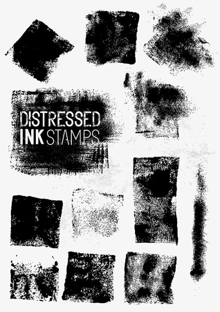 Distressed Vector Ink Stains, A collection of paint stamps. Vector illustration. Illustration