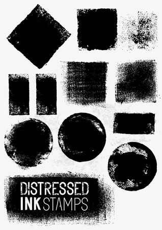 Distressed Vector Paint Stains, A collection of paint stamps. Vector illustration. Illustration