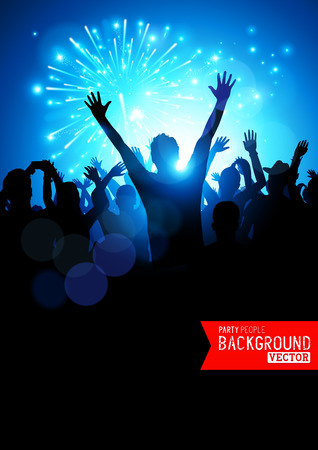 crowd concert: Big Party Crowd. A huge crowd of young people celebrating. Vector illustration.